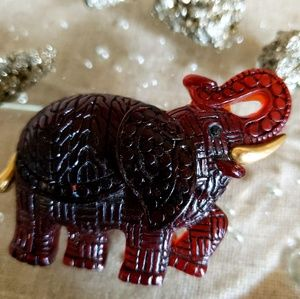 New Resin Root Bear Lucite Elephant Gold Brooch